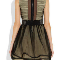 Alice + Olivia Heidi crystal belt ruched-tulle dress