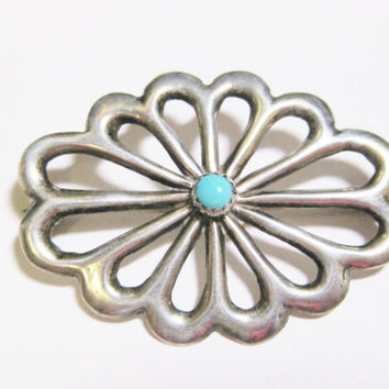 Turquoise Brooch Sterling Silver Pin Classic Navajo Flower