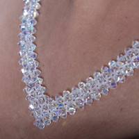 Crystal necklace, Bridal necklace, white crystal beads