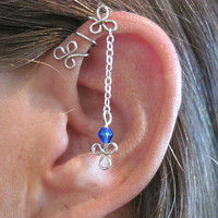 No Piercing &quot;Dangling Shamrocks&quot; Helix Cuff Ear Cuff for Upper Ear 1 Cuff