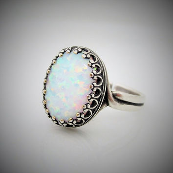 Opal Ring, Antique Silver Lab Created Opal Rings, Adjustable Silver Opal Ring, October Birthstone Jewelry, Opal Lovers