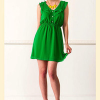 Rolling Green Ruffle Dress