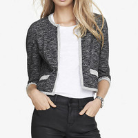 CROPPED BEAD EMBELLISHED FRENCH TERRY JACKET from EXPRESS