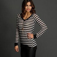 Black Tres Chic Stripe Knit Top