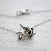 Sugar skull and crystal charm necklace- Oxidized sterling silver chain- skull charm