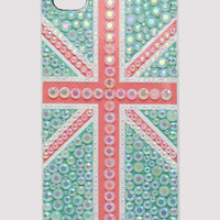 Handmade Great Britain Flag Crystals Iphone4/4S Case in Green - New Arrivals - Retro, Indie and Unique Fashion
