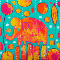 Colorful Elephant Painting Nursery Decor Blue Orange