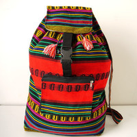 Tribal Fabric Backpack, Latin American, Peru, Red Rainbow Stripes