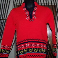 Vintage Red Scandinavian Sweater