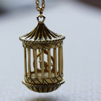 Vintage Birdcage Perfume Locket Necklace 1960s by FreshyFig
