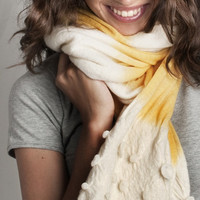 Neon Yellow scarf, pashmina hand dyed three areas and shibori handcrafted shaped volumes at the edge /// Made to order ///