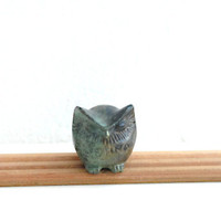 Bronze Owl Verdigris Greek Sculpture - Miniature
