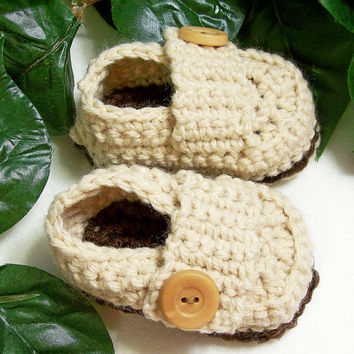 Baby Booties Boy-Baby Ecru Loafers Double Sole Crochet Shoes---PLEASE SPECIFY SIZE