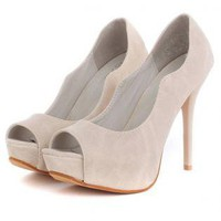 Peep Toe Stiletto Heels with Curved Side Detail