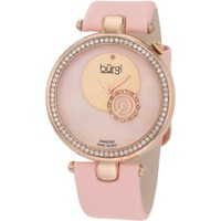 Burgi Women's BU42PK Round Swiss Quartz Dazzling Diamond Watch - designer shoes, handbags, jewelry, watches, and fashion accessories | endless.com