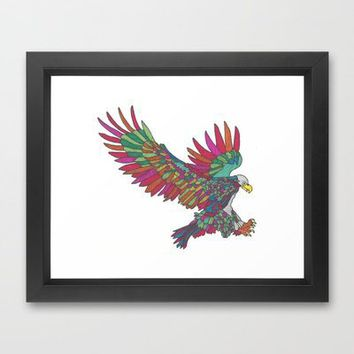 Technicolor Eagle Framed Art Print by Mad Decent Art | Society6