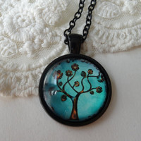 1- Floral Tree Necklace Tree of Life Fall Leaves Turquoise Pendant Black Metal Setting With Blue Floral Fall Tree October Trends Finished