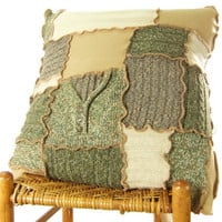 throw pillow cover, tan and green 24 inch upcycled sweater knit sofa cushion