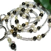 Lanyard Necklace Jewelry Brown and Ivory Crystal Pearl Breakaway Angel