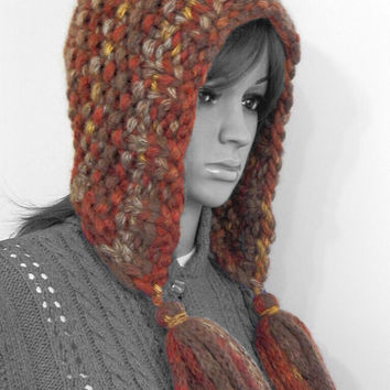 Hand knitted chunky hood hat