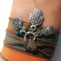 Hamsa Buddha Om Silk Wrap Bracelet Jewelry Namaste Evil Eye Yoga Anklet Necklace Brown Orange Fall Autumn Unique Gift Under 50 Item Z41