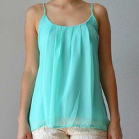 Trendy Clothing, Fashion Shoes, Women Accessories | Aqua Pleated Chiffon Top  | LoveShoppingMiami.com