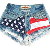 American flag medium rise shorts S