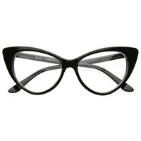 TWIGGY CAT EYE RETRO CLEAR FRAMES - BLACK - Black