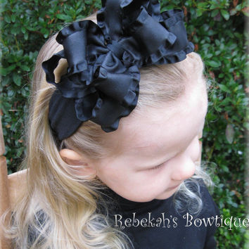 Christmas Black Double Ruffle Hair Bow Hairbow Headband Bowband or Clip Halloween Portraits Pageant infant toddler girls baby