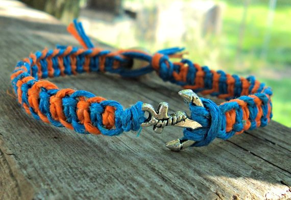 Anchor Charm Hemp Bracelet Orange and Blue Fishbone Knot Unisex