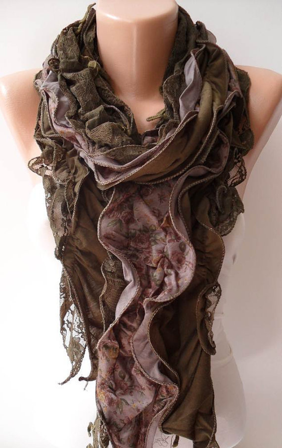 Ruffle Scarf - Green Lace and Cotton Scarf - Special Design