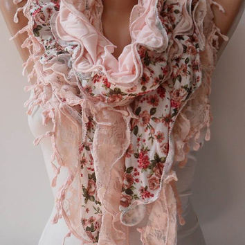 Salmon Ruffle Scarf - Light Salmon Lace and Cotton Scarf