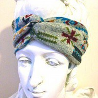 Aztec Grey Turban Headband