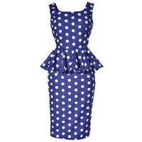 Style Icon's Closet 50s style Vintage Inspired Pin-Up African Print Retro Rockabilly Clothing — Polka Dot Peplum Pencil Dress