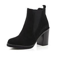 River Island Womens Black suede Chelsea block heel ankle boots