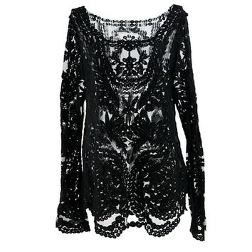Women's Semi Sheer Sleeve Embroidery Floral Lace Crochet Top