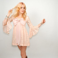 Vintage 1960's Beautiful PINK LACE Babydoll Dress
