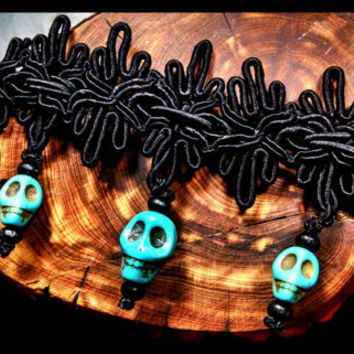 Handmade Turquoise Stone Skull Sugar Skulls on Black Lace Choker Day of the Dead Jewelry Necklace Wood Beads Dia De La Muerta Custom Length