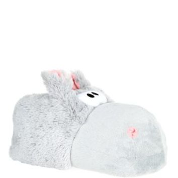 Grey Fluffy Hippo Slippers