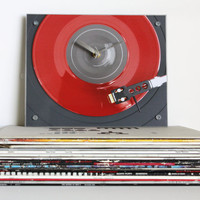 Red Music Wall Clock : Retro Red Record Player Clock 2.0