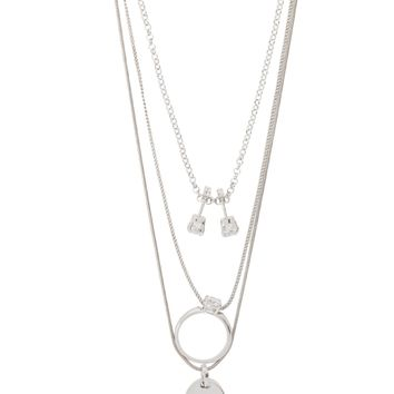 Silver Charm Three Layer Necklace