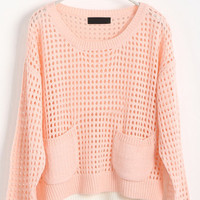 Pink Long Sleeve Hollow Side Split Pullovers Sweater - Sheinside.com