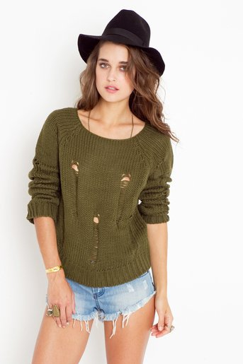 Totally Ripped Knit - Olive