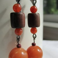Aventurine and Tigerwood Dangle Earrings