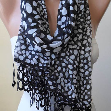 Black and White - Dalmatian - Silk - Chiffon Scarf with Black Trim Edge - Polka Dot