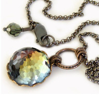 Crystal Pendant Necklace - Very Rare Vintage Swarovski with Brass