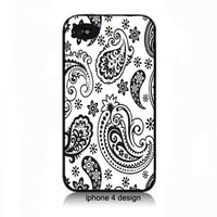 Black and White Paisley Iphone 4/4s case,cell phone case for iphone 4