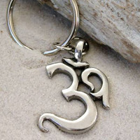 Pewter Ohm Om Yoga Buddha Namaste Keychain Key Ring (53E-KC)