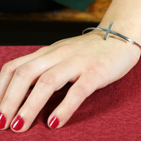 Silver Cross Bracelet - Silver Cross Bracelet / Silver / One Size Fits All