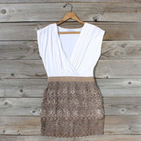 Tucked Lace Dress in Fawn, Sweet Women's Country Clothing